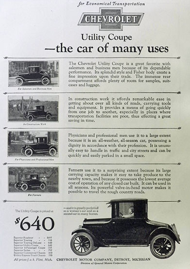 1924 Chevy Utility Coupe Ad ~ The Car of Many Uses