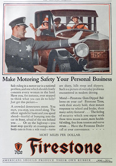 1926 Firestone Tires Ad ~ Motoring Safety
