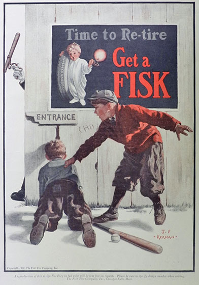 1926 Fisk Tires Ad ~ Kid Peeks at Game Through Knothole