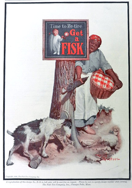 1926 Fisk Tires Ad ~ Maid Fends Off Billy Goat