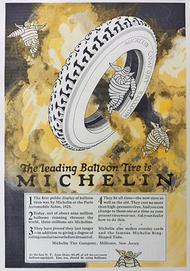 1925 Michelin Tires Ad ~ The Leading Balloon Tire