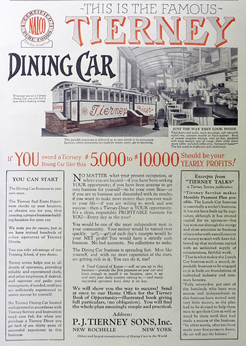1926 Tierney DIner Ad ~ Have Your Own American Diner Delivered on Wheels