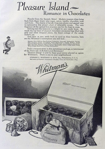 1923 Whitman's Candy Ad ~ Pleasure Island