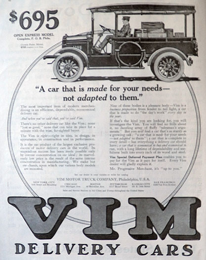 1916 Vim Delivery Car Truck Ad ~ Made For Your Needs