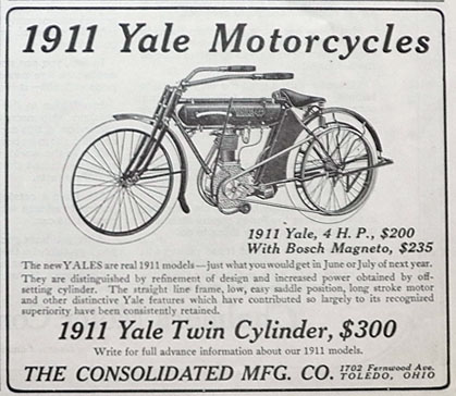 1911 Yale Motorcycle Ad