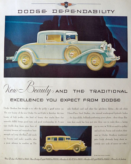 1931 Dodge Six & Eight Ad ~ New Beauty