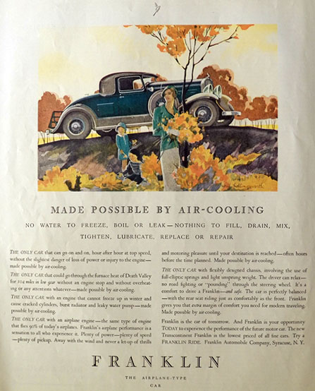 1931 Franklin Airplane Type Car Ad ~ Will Hollingsworth Art