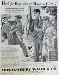 1930 Montgomery Ward Boys Clothing Ad ~ Knicker Suit, Longie Suit