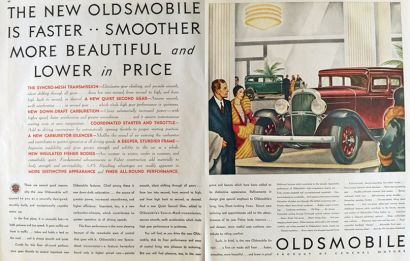 1931 Oldsmobile Ad ~ Faster, Smoother