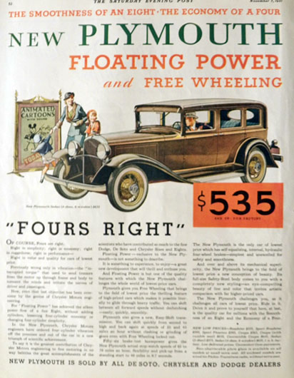 1931 Plymouth Sedan Ad ~ Floating Power