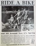 1930 Ride A Bike Ad ~ Family on Vintage Bicycles Photo