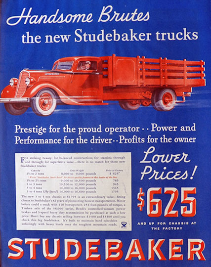 1934 Studebaker Truck Ad ~ Handsome Brutes