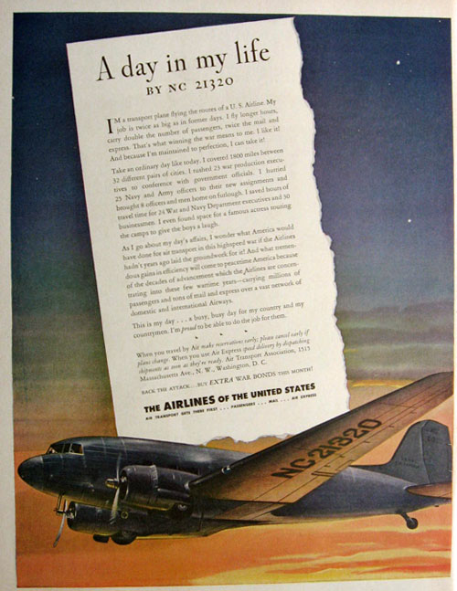 1943 U.S. Airlines Ad ~ WWII Transport Plane