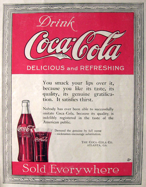 1919 Coca Cola Coke Ad ~ Smack Your Lips
