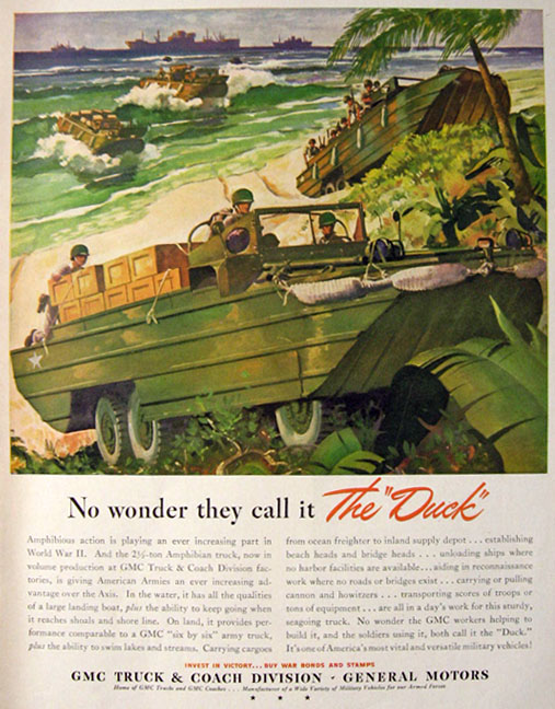 1943 WWII GMC Amphibious Army Truck Ad ~ The Duck