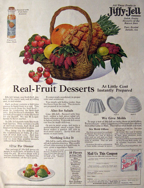1919 Jiffy Jell Ad ~ Real Fruit Desserts