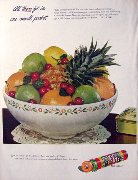 1943 Lifesavers Candy Ad ~ Bowl of Fruit
