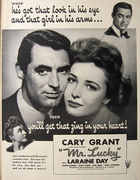 1943 Movie Ad ~ Mr. Lucky ~ Cary Grant
