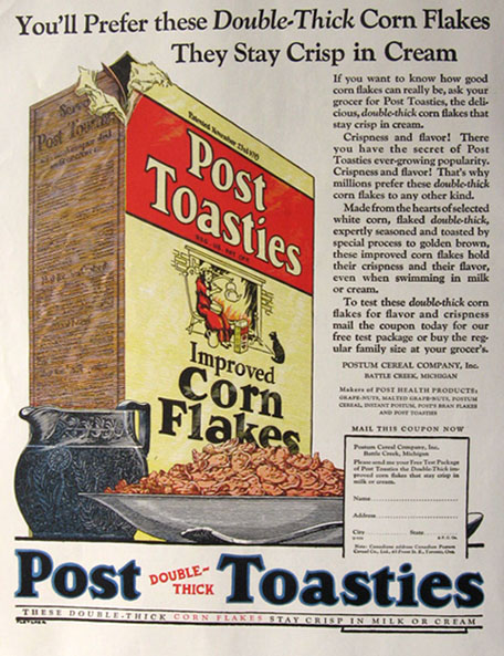 1924 Post Toasties Corn Flakes Ad ~ Double-Thick
