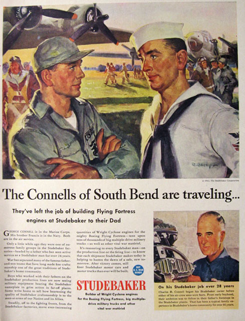 1943 WWII Wartime Studebaker Ad ~ Connells of South Bend