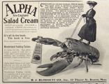 1903 Alpha New England Salad Dressing Ad ~ Lady Rides Huge Lobster