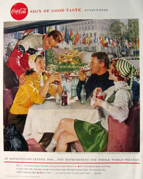 1958 Coca Cola Coke Ad ~ Rockefeller Center, NY