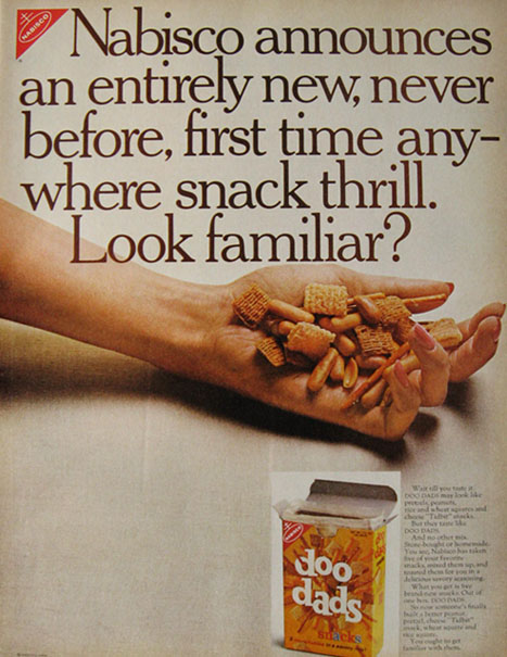 1966 Nabisco Doo Dads Snacks Ad ~ Entirely New