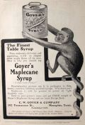1903 Goyer Maplecane Syrup Ad ~ Monkey Holds Can