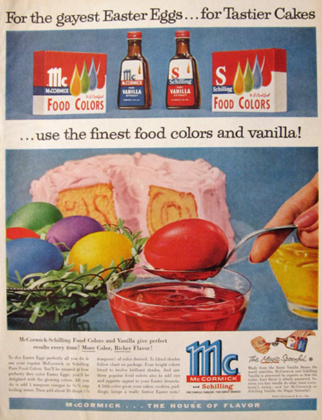 1957 McCormick Food Coloring Ad ~ Easter Eggs, Vintage Food Ads ...