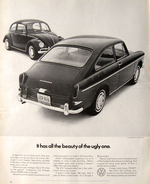 1966 VW Volkswagen Fastback Ad ~ All the Beauty of the Ugly One