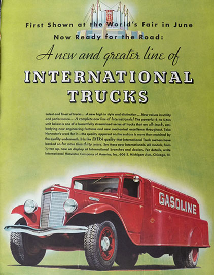1934 International Harvester Truck Ad ~ Gasoline Truck