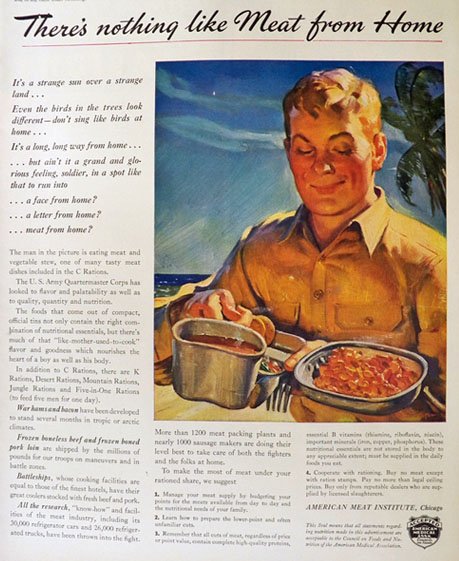 1943 WWII American Meat Institute Ad ~ Meat From Home