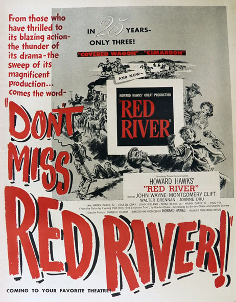 1948 Red River Movie Ad ~ John Wayne