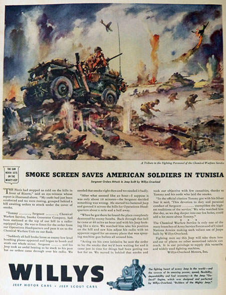1944 Willys Jeep Ad ~ Sessions ~ Chemical Warfare Unit
