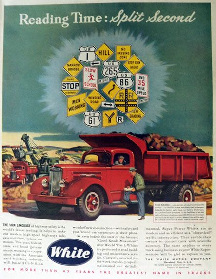 1947 White Trucks Ad ~ Highway Signs