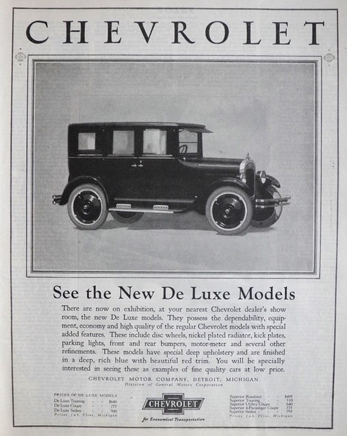 1924 Chevy Deluxe Ad