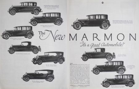 1924 Marmon Car Ad ~ 2 Pages, 10 Styles