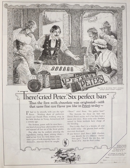 1924 Peter's Chocolate Bars Ad ~ Six Perfect Bars