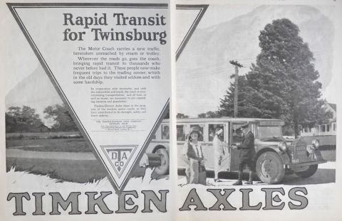 1924 Timken Axles Ad ~ Twinsburg Ohio Rapid Transit