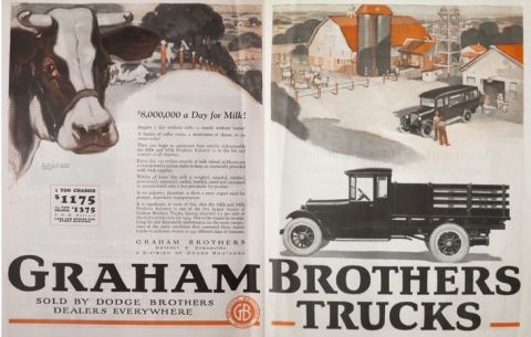 1925 Graham Brothers Truck Ad ~ Milk Industry