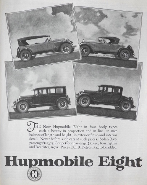 1925 Hupmobile Eight Ad ~ 4 Body Types