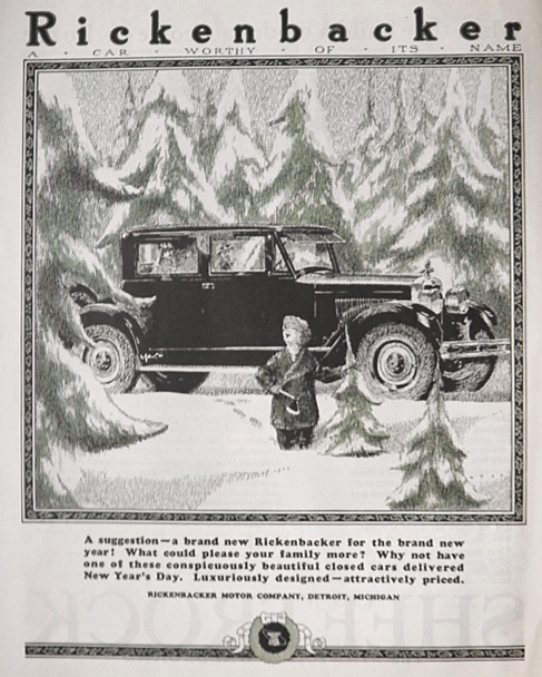 1924 Rickenbacker Car Ad ~ Boy Looks for Christmas Tree