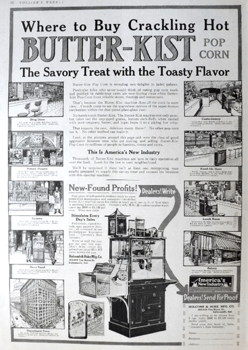 1917 Butter-Kist Popcorn Machine Ad ~ New-Found Profits