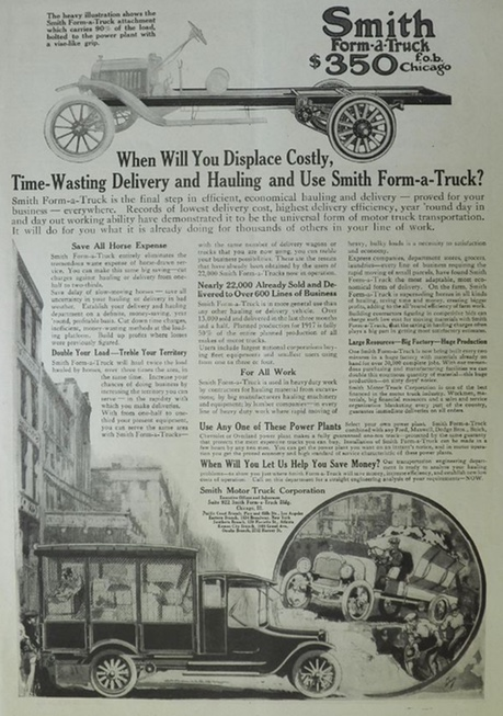 1917 Smith Motor Truck Ad ~ Form-A-Truck