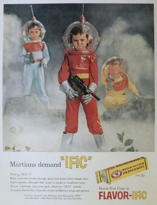 1958 Beechnut Gum Ad ~ Martian Kids in Spacesuits