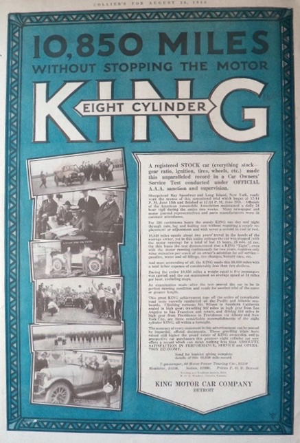 1916 King Motor Car Ad ~ 10,850 Miles Without Stopping
