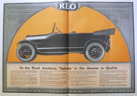 1918 Reo Six Car Ad ~ Two Pages