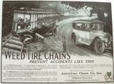1916 Weed Tire Chains Ad ~ Car Accident Illustration