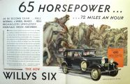 1930 Willys Six Ad ~ 65 Horsepower, 72 Miles an Hour