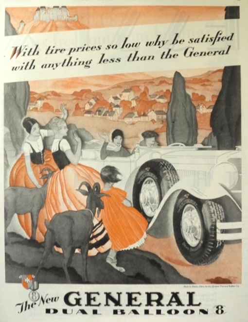 1929 General Dual Balloon Tires Ad ~ Goats